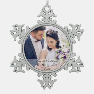 First Christmas Newlywed Wedding Photo Ornament MS