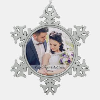First Christmas Newlywed Wedding Photo Ornament SW