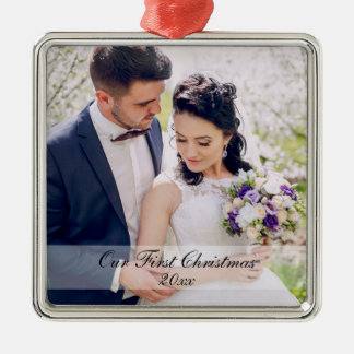 First Christmas Newlywed Wedding Photo Ornament WS