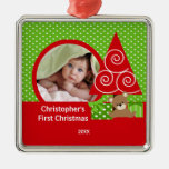 First Christmas Ornament Sweet Baby Bear Boy Photo