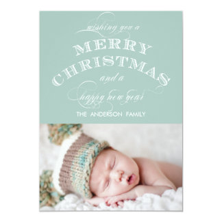 FIRST CHRISTMAS PHOTO CARD MINT GREEN