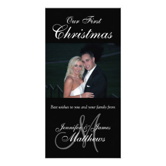 First Christmas Photo Card Photo Monogram Black