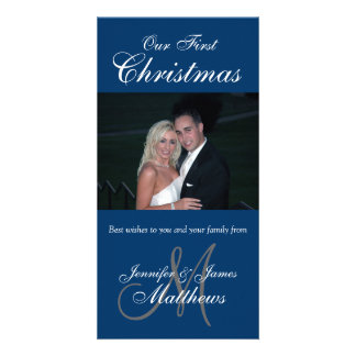 First Christmas Photo Card Photo Monogram Blue