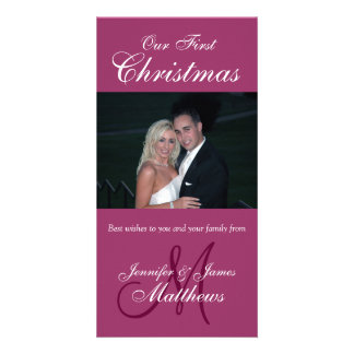 First Christmas Photo Card Photo Monogram Burgundy