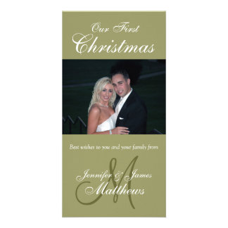 First Christmas Photo Card Photo Monogram Green