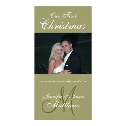 First Christmas Photo Card Photo Monogram Green
