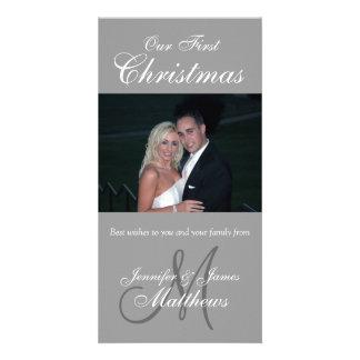 First Christmas Photo Card Photo Monogram Grey