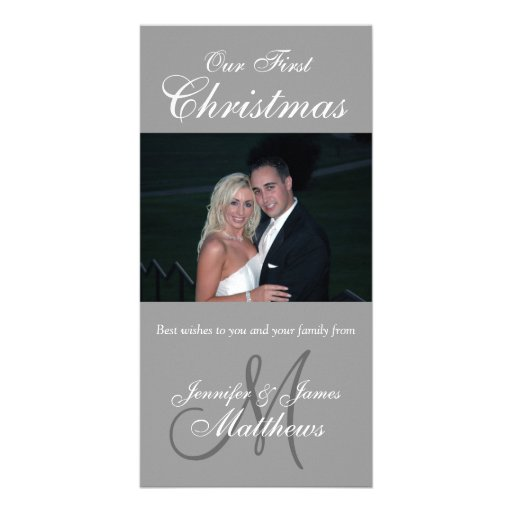 First Christmas Photo Card Photo Monogram Grey