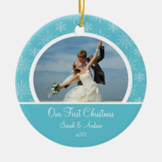 First Christmas Photo Ornament Blue Snowflakes