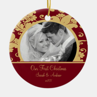 First Christmas Photo Ornament Red & Gold Damask