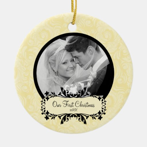 First Christmas Photo Ornament Yellow Damask