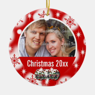 First Christmas photo personalize Round Ceramic Decoration