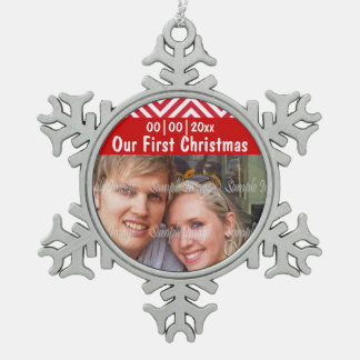 First christmas photo PERSONALIZE Pewter Snowflake Decoration