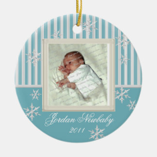 First Christmas Snowflakes Light Blue Ceramic Ornament