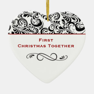 First Christmas Together Black Swirls Red Ceramic Heart Decoration