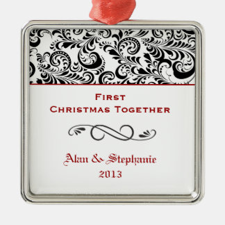 First Christmas Together Black Swirls Red Silver-Colored Square Decoration