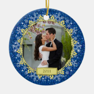 First Christmas Together Blue Snowflake Photo Ceramic Ornament
