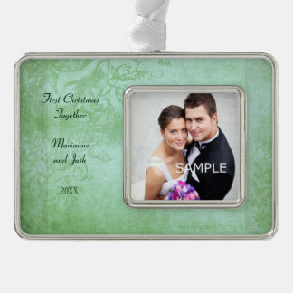 First Christmas Together Bridal Couple Dated Silver Plated Framed Ornament