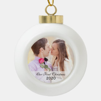 First Christmas Together Circle Photo Ornament