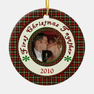 First Christmas Together Custom Holiday Photo Date Round Ceramic Decoration