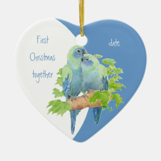 First Christmas Together Dated Cuddling Birds Double-Sided Heart Ceramic Christmas Ornament
