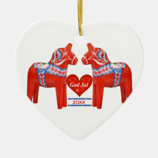 First Christmas Together Dated Swedish Dala Horse Ceramic Ornament