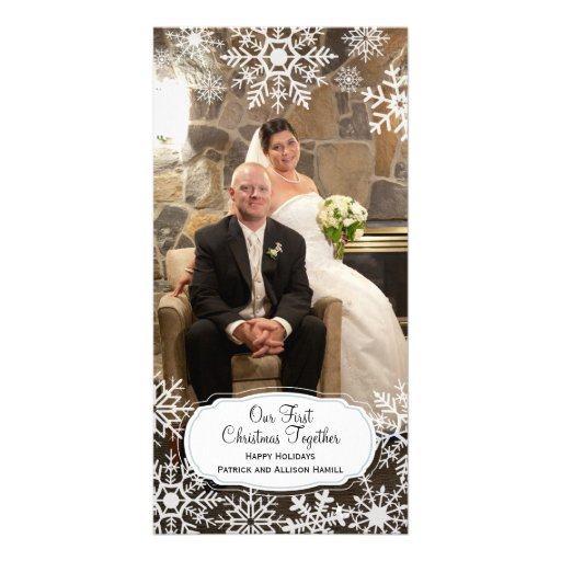 First Christmas Together - Elegant Snowflake Picture Card