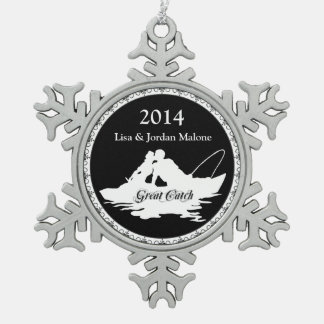 First Christmas Together Fishing Lover Great Catch Pewter Snowflake Decoration