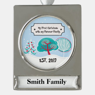 First Christmas Together - Gotcha Day Silver Plated Banner Ornament