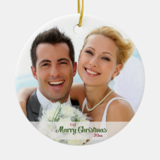 First Christmas Together- Newlyweds Round Ceramic Decoration