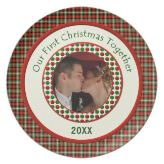 First Christmas Together Personalized Dated  Photo Party Plates
