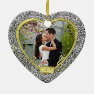 First Christmas Together Photo Heart Xmas Ceramic Heart Decoration