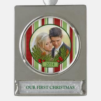 First Christmas Together Photo Pine Boughs Holly 2 Silver Plated Banner Ornament