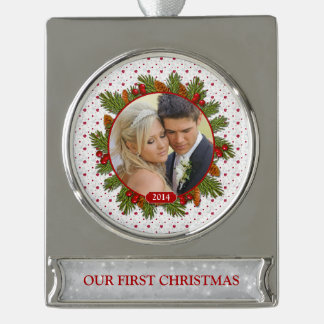 First Christmas Together Photo Pine Boughs Holly Silver Plated Banner Ornament