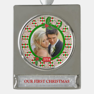 First Christmas Together Photo Unique Red Green Silver Plated Banner Ornament