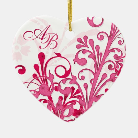 First Christmas Together Pink Floral Wedding Heart Ceramic Ornament