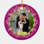 First Christmas Together Pink Snowflake Photo Round Ceramic Decoration