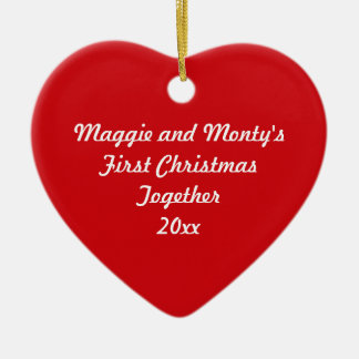 First Christmas Together ~ Red Heart Ceramic Heart Decoration