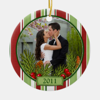 First Christmas Together Stripes Boughs Photo Ceramic Ornament