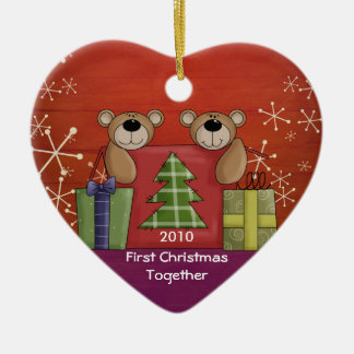 First Christmas Together Teddy Bear Custom Photo Ceramic Heart Decoration