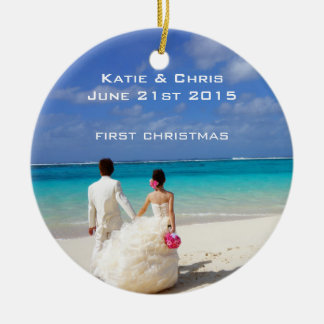 First Christmas Tropical beach Wedding Double-Sided Ceramic Round Christmas Ornament