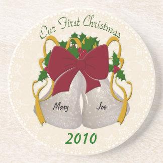 First Christmas Wedding Bells Coasters