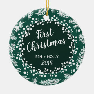 First Christmas Wedding Evergreen Personalised Ceramic Ornament