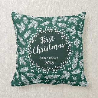 First Christmas Wedding Evergreen Personalised Cushion