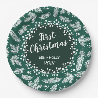 First Christmas Wedding Evergreen Personalised Paper Plate