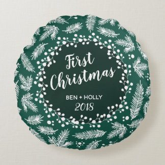 First Christmas Wedding Evergreen Personalised Round Cushion