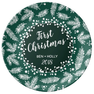 First Christmas Wedding Evergreen Personalized Plate