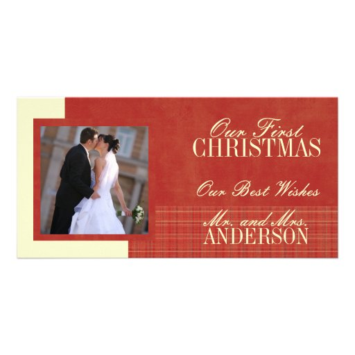 First Christmas Wedding Photo Cards Cream Red