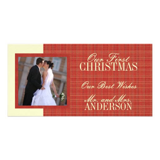 First Christmas Wedding Photo Cards Red
