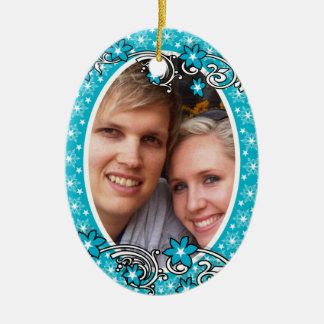 First Christmas wedding photo PERSONALIZE Ceramic Oval Decoration